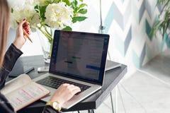 Administrador de sexo femenino de los grupos de redes sociales que trabajan en el ordenador portátil y notas en cuaderno imágenes de archivo libres de regalías