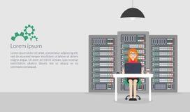 Administrador de sistema da mulher Ilustração do vetor no estilo liso Descrições do apoio da manutenção do servidor das tecnologi Fotos de Stock