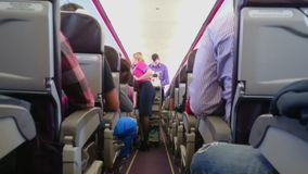 Administrador y azafata en el trabajo, almuerzo de servicio para acepillar a pasajeros durante vuelo metrajes