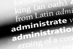 Administrate. Word in a dictionary.  concept Royalty Free Stock Image