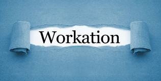 Administratie met workation stock foto's