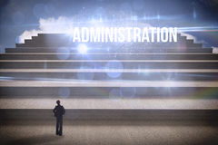Administration against steps against blue sky Royalty Free Stock Image