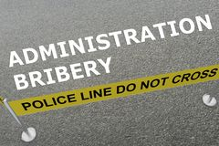 ADMINISTRATION BRIBERY concept. 3D illustration of ADMINISTRATION BRIBERY title on the ground in a police arena Royalty Free Stock Photography