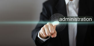 Administration. Businessman's hand pressing the Royalty Free Stock Image