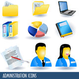 Administration icons. A collection of nine administration icons, color illustrations Royalty Free Stock Photos