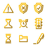 Administration icons. Vector web icons, gold contour series Royalty Free Stock Image