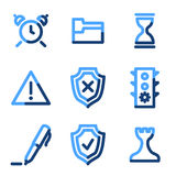 Administration icons. Vector web icons, blue contour series Stock Images