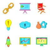 Administration icons set, cartoon style. Administration icons set. Cartoon set of 9 administration vector icons for web isolated on white background Royalty Free Stock Photos