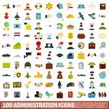 100 administration icons set, flat style. 100 administration icons set in flat style for any design vector illustration Royalty Free Stock Photos