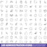 100 administration icons set, outline style. 100 administration icons set in outline style for any design vector illustration Stock Images