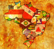 Administration on map of brazil Royalty Free Stock Photos