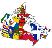 Administration map of canada. With flags of administrative divisions Stock Photos