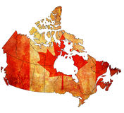 Administration map of canada. With flags of administrative divisions Stock Photography