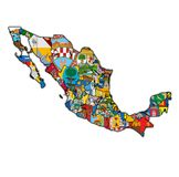 Administration map of Mexico Stock Photos