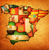 Administration map of spain. Administration map of regions of spain with flags and emblems Stock Images
