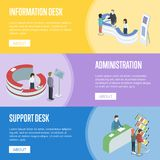 Administration and support desk isometric flyers. Administration and support desk isometric horizontal flyers. Need help and need information concepts. Company Stock Images