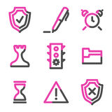 Administration web icons, pink contour series Royalty Free Stock Photography