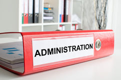 Administration wording on a binder Royalty Free Stock Photography