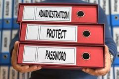 Administrationen skyddar, lösenordbegreppsord framförd mappbild för begrepp 3d Arkivbilder