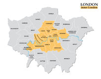 Administrativ och politisk översikt av inre London, statistisk definition stock illustrationer