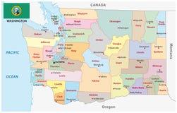 Administrativ och politisk översikt av USA-staten av Washington med flaggan Royaltyfria Bilder