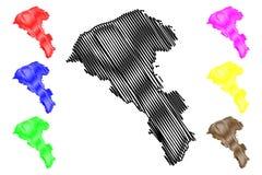 Administrativa uppdelningar för Taoyuan stad av illustration för Taiwan, Republiken Kina, ROC, special kommuner översiktsvektor, vektor illustrationer
