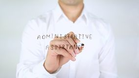 Administrative Assistance, Man Writing on Glass, Handwritten. High quality stock photography