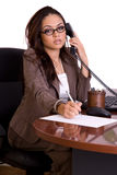 Administrative assistant on the phone. On pure white background stock photos