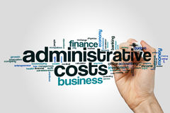 Administrative costs word cloud concept on grey background.  Royalty Free Stock Photography
