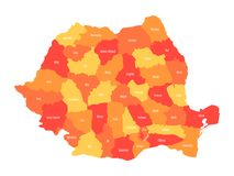 Administrative counties of Romania. Vector map in four shades of orange Stock Image