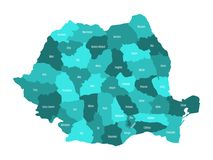 Administrative counties of Romania. Vector map in four shades of turquoise blue Royalty Free Stock Photos