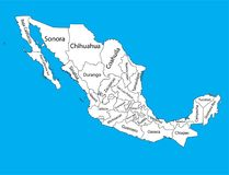 Administrative divisions of Mexico counties, separated provinces. Mexico map . Editable blank  map of  Mexico. Vector map of Mexico isolated on background. High Stock Photos