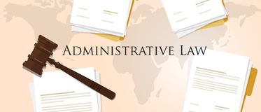 Administrative law concept of justice hammer gavel judgment process legislation paper document Royalty Free Stock Photos