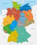 Administrative map of the Federal Republic of Germany in English.  Royalty Free Stock Photos