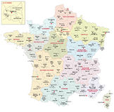 Administrative map of the 13 regions of france since 2016  Stock Photos
