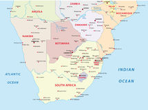 Administrative map of the states of southern Africa Stock Images