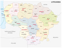 Administrative and political map of the Baltic republic of Lithuania Stock Photography
