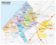 Administrative and political map of the Dutch city The Hague Stock Images