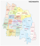 Administrative and political map of the Indonesian city Yogyakarta Royalty Free Stock Photo