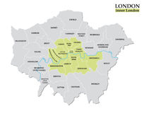 Administrative and political map of inner London, Statutory definition Stock Photo