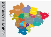 Administrative and political map of Region Hannover in German language Royalty Free Stock Image