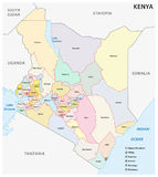 Administrative and political map of the Republic of Kenya Royalty Free Stock Images