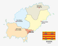 Administrative and political map of the Spanish Mediterranean Sea Eivissa with flag. Administrative and political vector map of the Spanish Mediterranean Sea Royalty Free Stock Photo