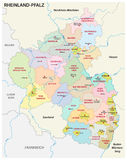 Administrative and political map of the state of Rhineland-Palatinate in german language Royalty Free Stock Photos