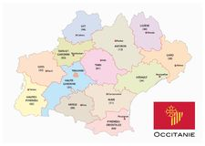 Administrative and political vector map of the occitanie region with flag, france Stock Photo