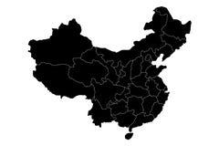 Administrative provinces of China. Black vector illustration Royalty Free Stock Photos