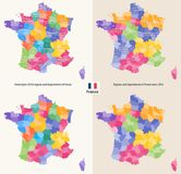 Administrative regions and departments of France vector map Stock Image