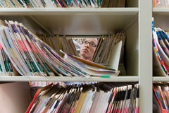 Administrator in archives Royalty Free Stock Photos