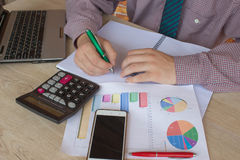 Administrator business man financial inspector and secretary making report, calculating or check balance. Internal Revenue Service Royalty Free Stock Photo