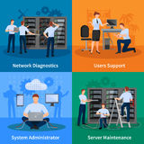 IT Administrator 2x2 Design Concept. Network engineer and it administrator 2x2 design concept set of network diagnostics users support and server maintenance Royalty Free Stock Photos